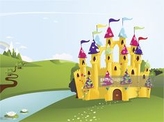 Fairytale castle vector illustration. Castle and other elements are on separate layers. Hi res jpg include.