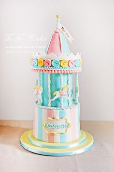 carrousel cake, baby 100days party, party cake, baby boy