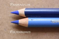 Sharpened points of Prismacolor and Polychromos pencils in their casing.