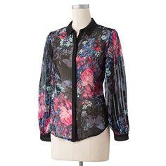 chiffon pleat blouse | LC Lauren Conrad Floral Pleated Chiffon Blouse