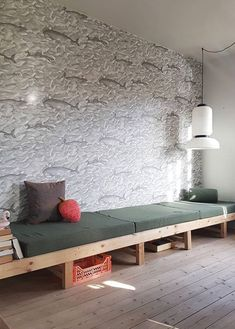Make your own DIY daybed using common items like cushions, wood furniture legs, and an old door. Interior Architecture, Interior Design, Living Spaces, Living Room, Kids Room Wallpaper, Fish Wallpaper, Home And Living, Kids Bedroom, Diy Furniture