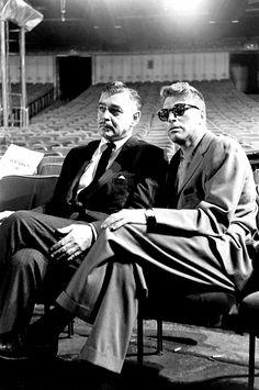 Clark Gable and Burt Lancaster at the rehearsal for the 1958 Oscar ceremony