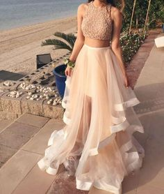 White Two Pieces Sequin Tulle Long Prom Dress, Evening Dress