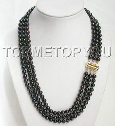 Strands of black pearls.