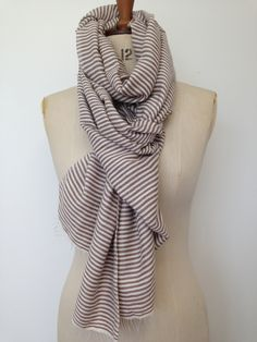 Natural Mocha Striped Scarf - Beige Handwoven Organic Cotton Shawl - Nautical Scarf - Cotton Scarf - Poncho Scarves and Wraps - Gift for her by CardamomClothing on Etsy