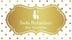Girly White and Gold Polka Dots Nail Polish Icon Nail Technician Business Cards http://www.zazzle.com/nail_technician_manicurist_chic_white_gold_dots_business_card-240358554081663741?rf=238835258815790439&tc=GBCManicurist1Pin