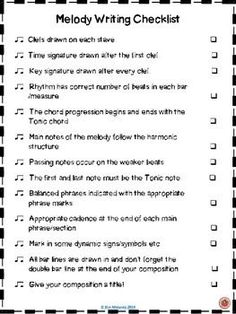 Melody Writing Checklist - This is a great starting point for a student friendly checklist even if I don't choose to use it all. Music Lessons For Kids, Music Lesson Plans, Piano Lessons, Music Classroom, Music Teachers, Classroom Resources, Classroom Ideas, Classroom Board, Classroom Tools