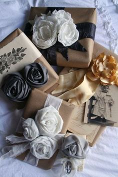 nicely wrapped gifts with roses
