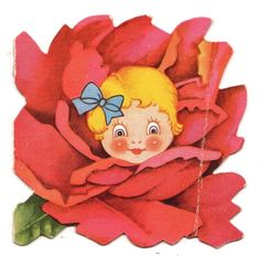SWEET GIRL IN RED FLOWER BLOSSOM / VINTAGE ANTHROPOMORPIC VALENTINE CARD