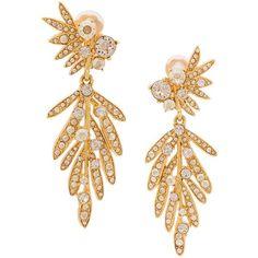 Oscar de la Renta tropical palm crystal clip-on earrings ($620) ❤ liked on Polyvore featuring jewelry, earrings, crystal jewellery, earring jewelry, palm tree earrings, crystal stone jewelry and oscar de la renta jewelry