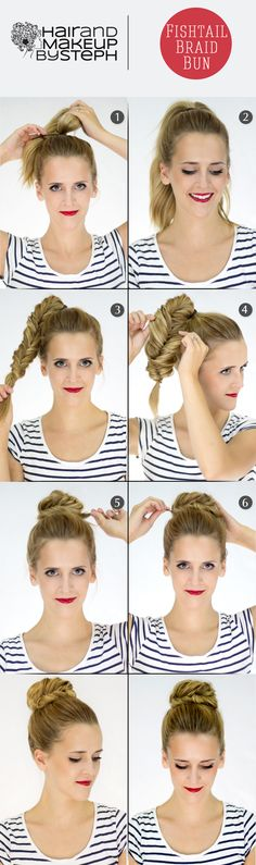 Make a Fishtail Bun For Your Self Hair Styles for Girls Pretty Hairstyles, Braided Hairstyles, Everyday Hairstyles, Braided Updo, Fishtail Braid Buns, Bun Updo, Updo Hairstyle, Corte Y Color, Tips Belleza