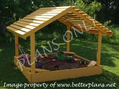 Plans to build a 6x6 covered sandbox Playground equipment | 25+ garden pallet projects