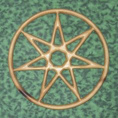 Star of Enchantment-Elven-Fairy-Feri-Wizardry-Sphere of Netzach MEANING: This Star is a septagram, a continuously drawn figure with 7 points signifying Enchantment & Wizardry. Frequently  in Tarot illustrations. A less common symbol than the pentacle, it is a sacred symbol to Wiccans who follow the Feri (or Faery) tradition.  The septagram is also important in Western kabbalah, where it symbolizes the sphere of Netzach, the 7 planets, the 7 alchemical metals, and the 7 days of the week.