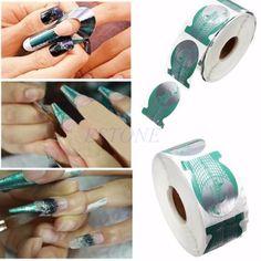 500PCS Acrylic UV Gel Tips Extension Sticker Nail Art Form Decoration Tool Green