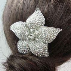 Bridal Romantic Comb 5 Leaf Rose Flowers Wedding Decoration Hair Accessories Clear Rhinestones Crystal