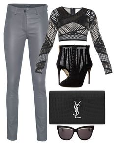 Grey & Black by carolineas on Polyvore featuring polyvore, fashion, style, Hervé Léger, Arma, Dolce&Gabbana, Yves Saint Laurent, Christian Dior, women's clothing, women's fashion, women, female, woman, misses and juniors