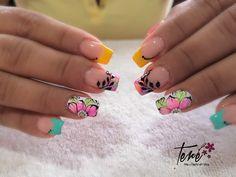 French Tip Acrylic Nails, Love Nails, Beauty Nails, Pedicure, Shayna Baszler, Erika, Crochet, Holographic Nails, Toe Nail Art