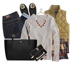 """{ what i'd give to gaze at the manhattan skyline }"" by callingmybluff ❤ liked on Polyvore featuring J.Crew, Tory Burch, Paige Denim, Merona and Bobbi Brown Cosmetics"