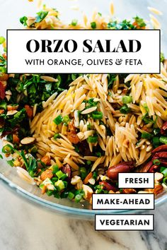 This IRRESISTIBLE orzo salad is bursting with FRESH Mediterranean flavors It includes whole grain orzo fresh parsley toasted almonds crumbled feta green onion and Kalamata olives healthy saladrecipe pastasalad vegetarian cookieandkate Gourmet Recipes, Dinner Recipes, Cooking Recipes, Healthy Recipes, Bean Recipes, Mexican Recipes, Orzo Salat, Salsa Fresca, Orzo Salad Recipes