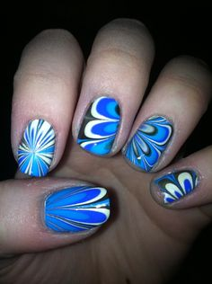 Water marbled nails I did