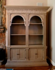 Bookcase remake by Robin Puckett of Creative Brushworks in Charlotte, NC painted with Paint Couture! The Collection products, beautiful!