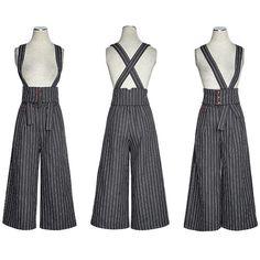 Gray Pinstripe Boho Hipster Fashion Cropped Strap Pants Women SKU-11404492