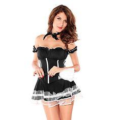 Sexy Volwassen Vrouwen Maid Zwarte Halloween Costume (2 stuks) – EUR € 11.54