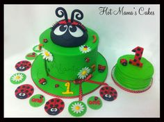 Ladybug 1st Birthday! - This cake came with matching cupcake toppers and a smash cake for the birthday girl!  Design was inspired by Custom Cake Designs