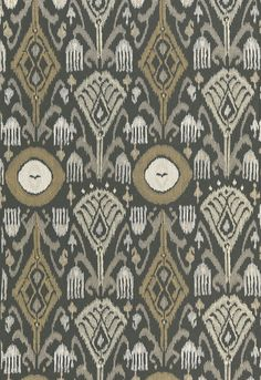 Turkestan Embroidery | 67871 in Charcoal | Schumacher Fabric |  Inspired by a silk ikat from Central Asia, this embroidered pattern is a contemporary take on a classic design. Satin stitches create a wonderfully graphic and dimensional pattern.