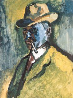 Emil Filla (Czech 1882–1953) [Cubism, Modernism, Osma] Self-portrait with cigarette (Self-portrait), 1908.