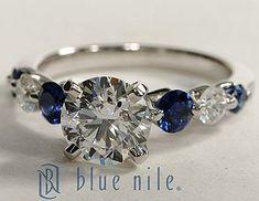 Diamond Rings : Floating Sapphire and Diamond Engagement Ring #BlueNile