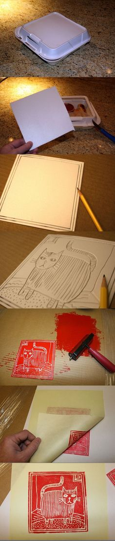 Old-school printing process using a styrofoam takeout box.