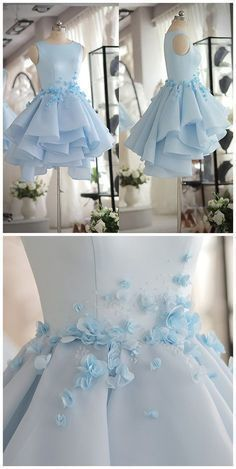 Light Blue Satin Organza Short Party Dress With Beads And Handmade Flowers Dress Prom Dress H. Light Blue Satin Organza Short Party Dress With Beads And Handmade Flowers Dress Prom Dress Homecoming Gowns Girls Graduation Dress Tight Dresses, Sexy Dresses, Cute Dresses, Party Dresses, Beautiful Dresses, Dress Outfits, Short Dresses, Fashion Dresses, Amazing Dresses