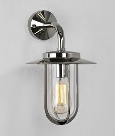 Exterior Deck Wall Lantern in Contemporary Chrome or Classic Bronze Colour