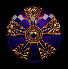 Art Deco Czech Glass Button Etruscan Revival Gold Gild Enamel Platinum Luster XLG Button. $15.00, via Etsy.