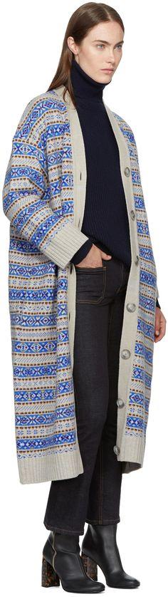 Stella McCartney - Beige & Blue Striped Long V-Neck Cardigan
