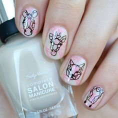 Sally Hansen- Almost Almond Minimalist Nails, Hot Nails, Hair And Nails, Sally Hansen, Panda Nail Art, London Nails, Nail Time, Geometric Nail, Nagel Gel