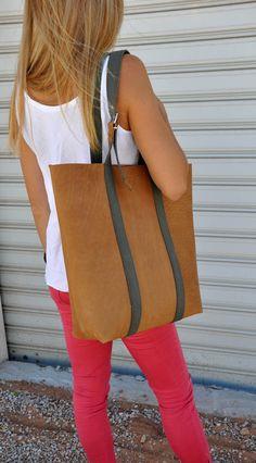 Tote sac en cuir avec lanières de coton par byCACHE sur Etsy, €140.00