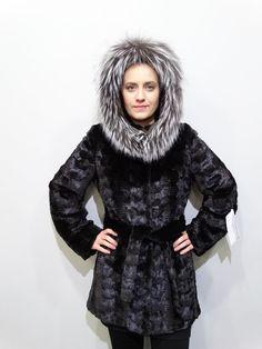 Black Mink Fur Sheared Coat with Fox Trim Hood,Woman Fur Coat Mink Jacket, Hooded Jacket, Fur Clothing, Shearing, Mink Fur, Fur Coat, Fox, High Neck Dress, Model
