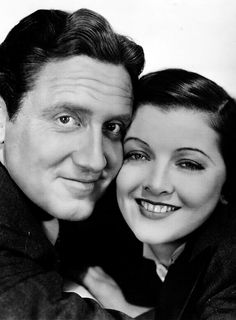 Spencer Tracy and Myrna Loy.......There were rumors that Myrna Loy had affairs with: Spencer Tracy during the filming of Whipsaw in 1935 and Libeled Lady in 1936.[24][25] Leslie Howard during the filming of The Animal Kingdom in 1932.[26] Gambler Titanic Thompson claimed he had an affair with her