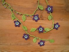 crochet flower necklace lariat plum green by PashaBodrum on Etsy