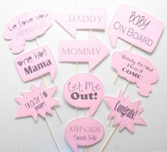 10pc * Baby Shower Photo Booth Speech Bubbles/Colored Photobooth Props - CUSTOM OPTIONS AVAILABLE by ThePartyGirlStudio on Etsy https://www.etsy.com/listing/227299157/10pc-baby-shower-photo-booth-speech
