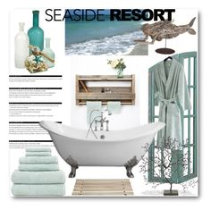 Spa by the Sea by fortyandlovingit on Polyvore featuring polyvore, interior, interiors, interior design, home, home decor, interior decorating, Bambeco, Linum Home Textiles, Iris Hantverk, Dot & Bo, Pier 1 Imports, Arche, Calvin Klein Home, Captiva, moodboard, polyvoreeditorial, summer2015, homeidea and seasideresort