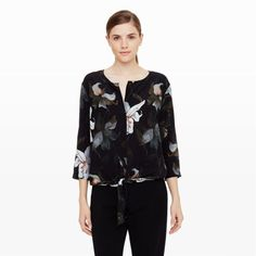 Women | Harriet Silk Tie Top | Club Monaco
