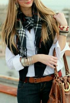 White button up with plaid scarf & cute accessories