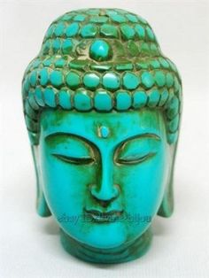 old tibet Synthetic turquoise carved Buddha head statue