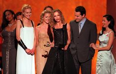 Pin for Later: Memorable SAG Awards Snaps to Get You Excited For the Show  Portia de Rossi, Jane Krakowski, Calista Flockhart, and Lucy Liu took the stage together in 1999 to accept an award for Ally McBeal.