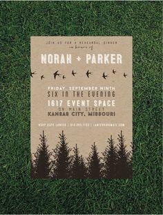 Rustic Forest Rehearsal Dinner Invitation // Printed set of 10 // Typography Invitation, Evergreen Invitation