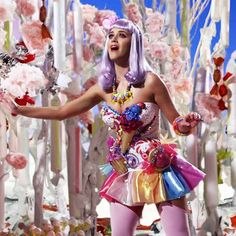 """Katy Perry wearing candy and ice cream in """"California Gurls"""" music video; inspired by the artwork of Will Cotton"""