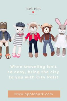 Meet the City Pals – a cute, cuddly, cosmopolitan crew of soft plush toys made from 100% certified organic cotton. Each City Pal comes from a different global locale and has a unique profession and interests. Easy for babies and toddlers to hold onto and designed with details that encourage imaginative play, the City Pals are sure to become your child's favorite toy and accompany them as they grow! Organic Baby Toys, Imaginative Play, New Baby Gifts, Cosmopolitan, Your Child, New Baby Products, Toddlers, Organic Cotton, Plush